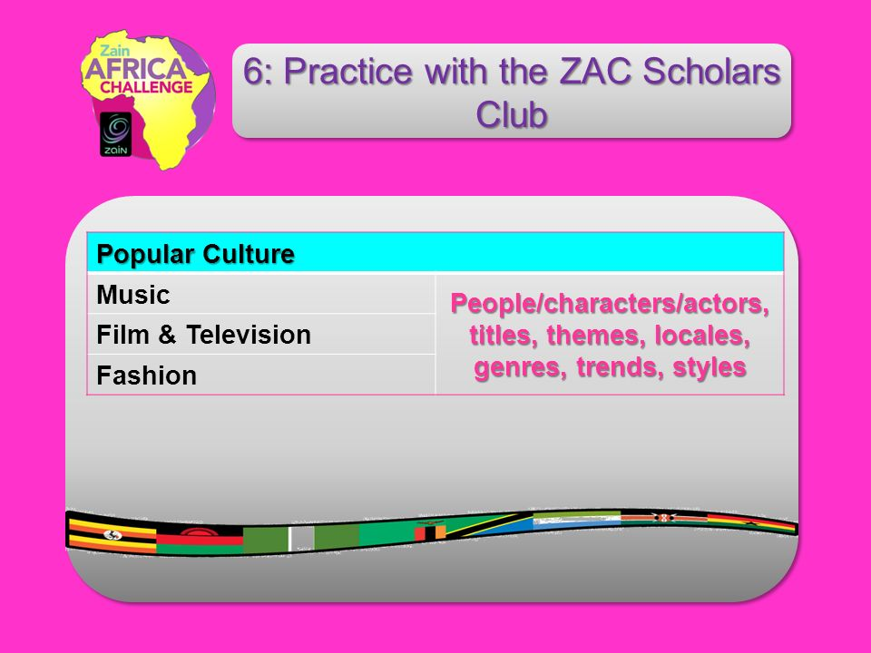 Popular Culture Music People/characters/actors, titles, themes, locales, genres, trends, styles Film & Television Fashion 6: Practice with the ZAC Scholars Club