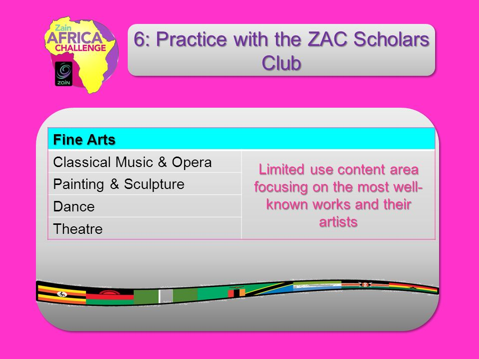 Fine Arts Classical Music & Opera Limited use content area focusing on the most well- known works and their artists Painting & Sculpture Dance Theatre 6: Practice with the ZAC Scholars Club