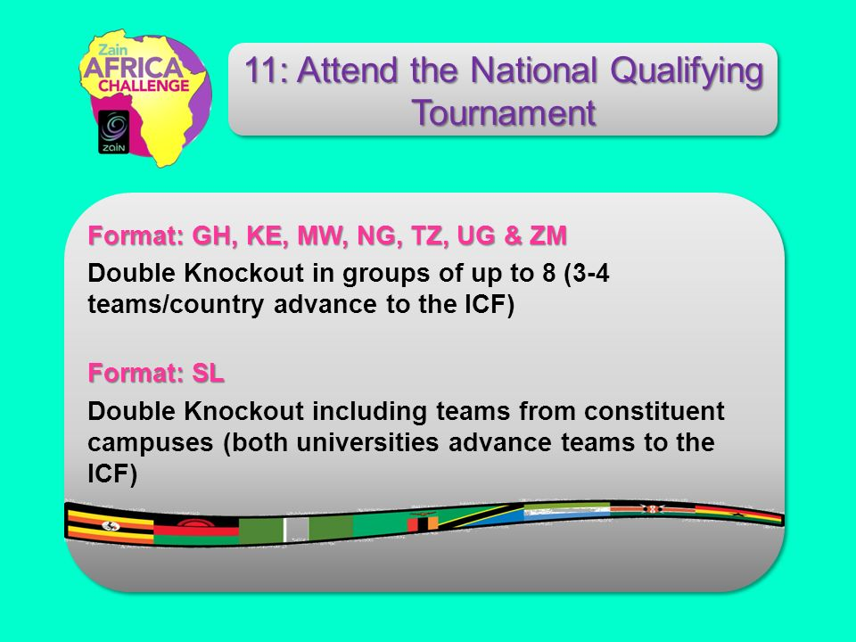 Format: GH, KE, MW, NG, TZ, UG & ZM Double Knockout in groups of up to 8 (3-4 teams/country advance to the ICF) Format: SL Double Knockout including teams from constituent campuses (both universities advance teams to the ICF) 11: Attend the National Qualifying Tournament