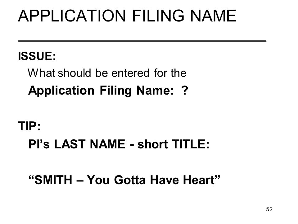 52 APPLICATION FILING NAME ________________________________ ISSUE: What should be entered for the Application Filing Name: .