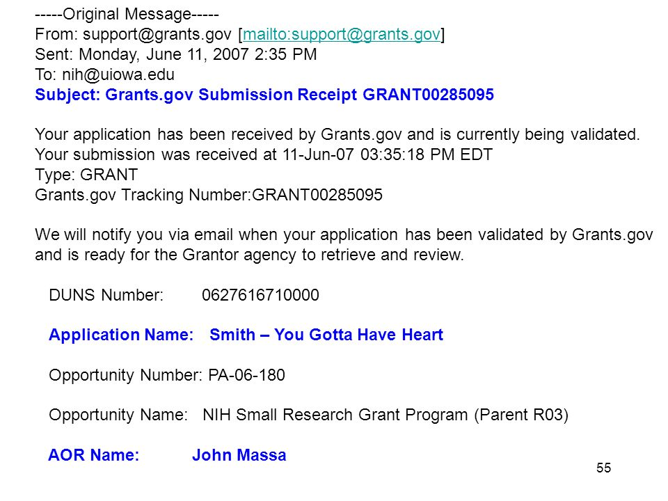Original Message----- From:  Sent: Monday, June 11, :35 PM To: Subject: Grants.gov Submission Receipt GRANT Your application has been received by Grants.gov and is currently being validated.