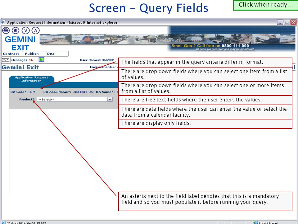 The fields that appear in the query criteria differ in format.