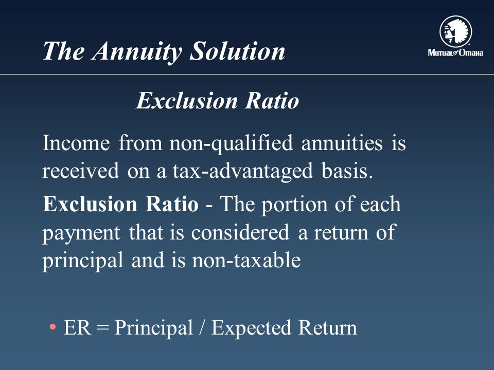 The Annuity Solution Income from non-qualified annuities is received on a tax-advantaged basis.