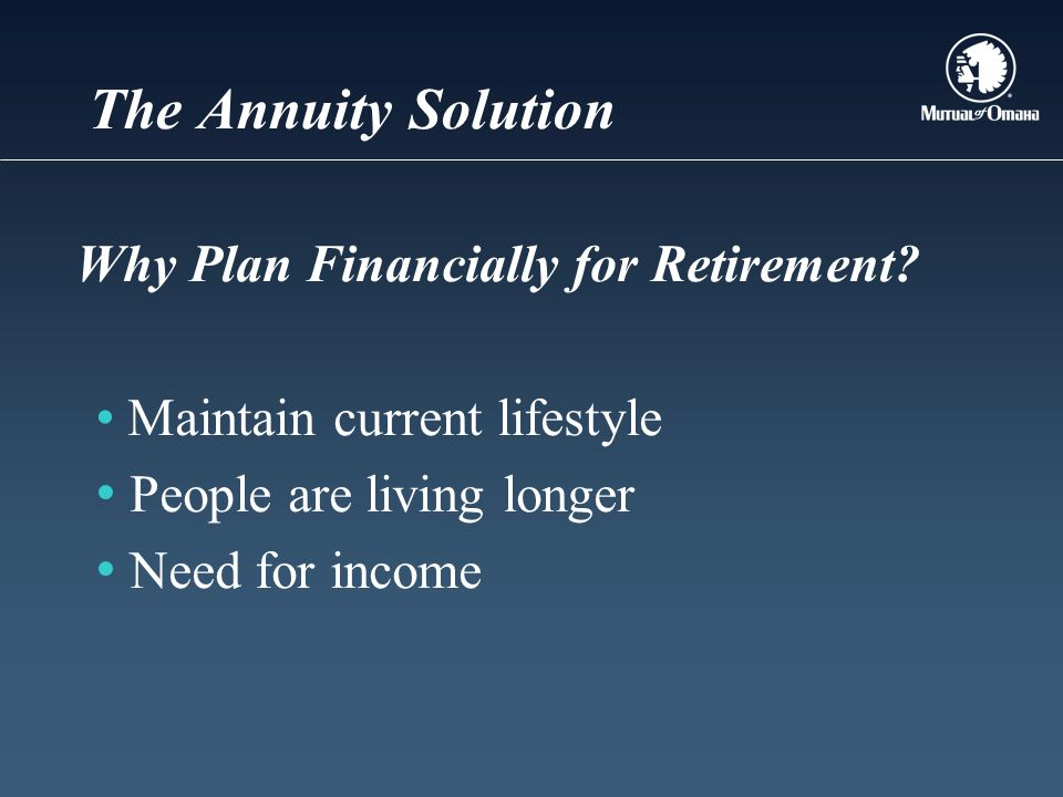 The Annuity Solution Why Plan Financially for Retirement.