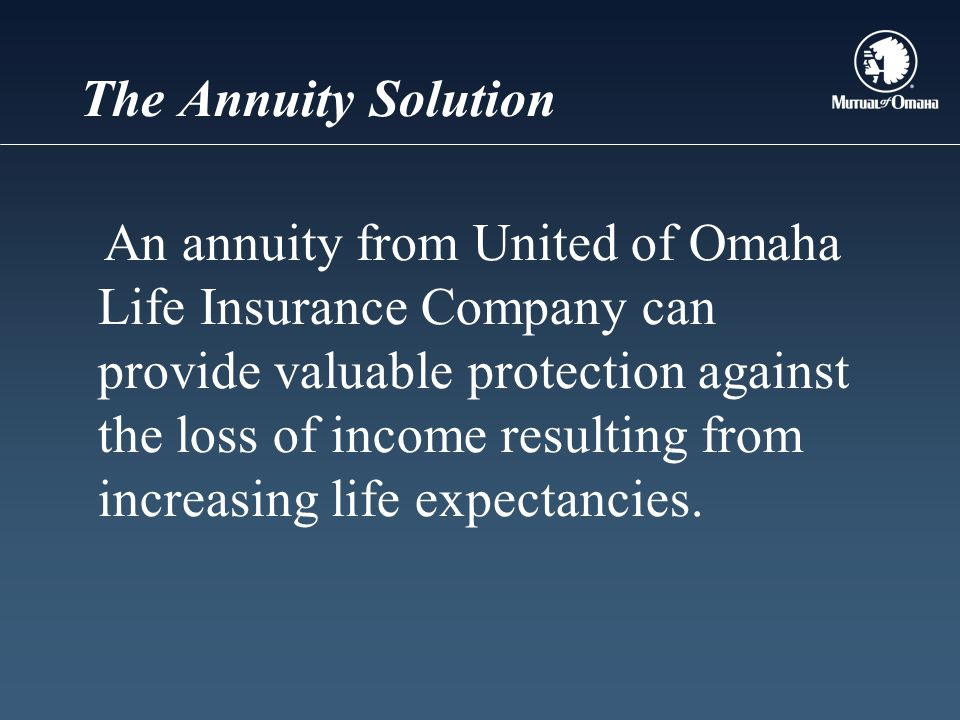 The Annuity Solution An annuity from United of Omaha Life Insurance Company can provide valuable protection against the loss of income resulting from increasing life expectancies.