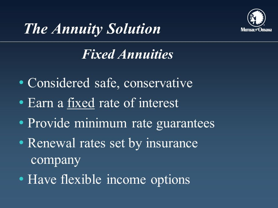 The Annuity Solution Considered safe, conservative Earn a fixed rate of interest Provide minimum rate guarantees Renewal rates set by insurance company Have flexible income options Fixed Annuities