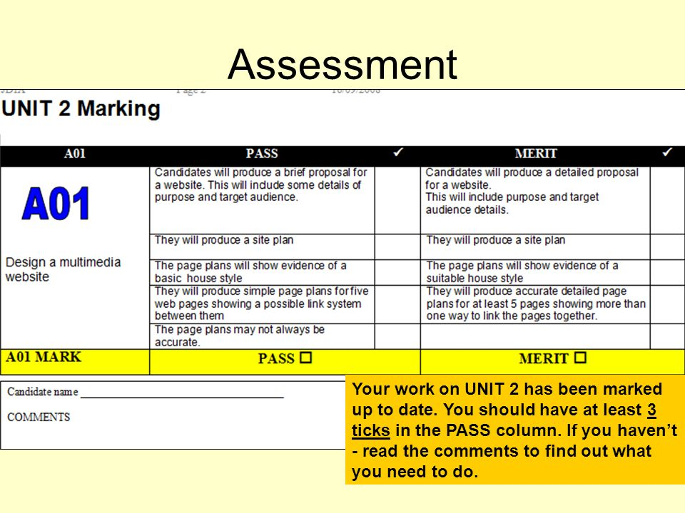 Assessment Your work on UNIT 2 has been marked up to date.
