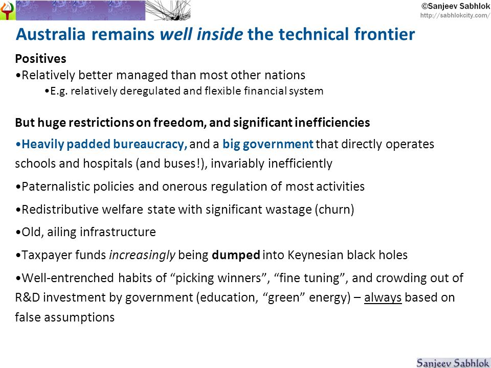 Australia remains well inside the technical frontier Positives Relatively better managed than most other nations E.g.