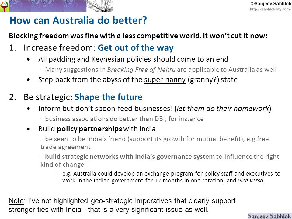 How can Australia do better. Blocking freedom was fine with a less competitive world.