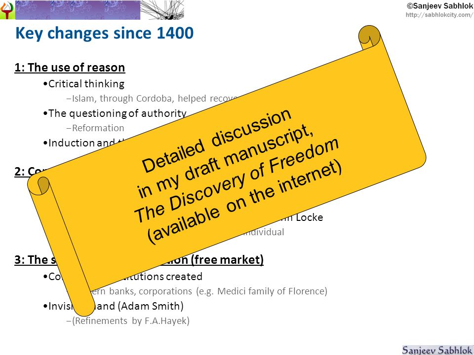 Key changes since 1400 1: The use of reason Critical thinking - Islam, through Cordoba, helped recover Greek thought The questioning of authority - Reformation Induction and the scientific method – Francis Bacon 2: Constitutionalism and liberty Origin of democracy - Magna Carta -> Glorious Revolution Theory of the modern state: Thomas Hobbes, John Locke - Society was earlier the centre.