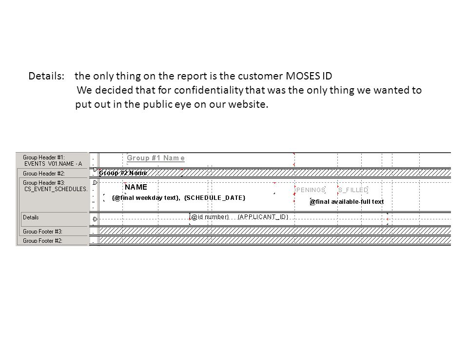 Details: the only thing on the report is the customer MOSES ID We decided that for confidentiality that was the only thing we wanted to put out in the public eye on our website.