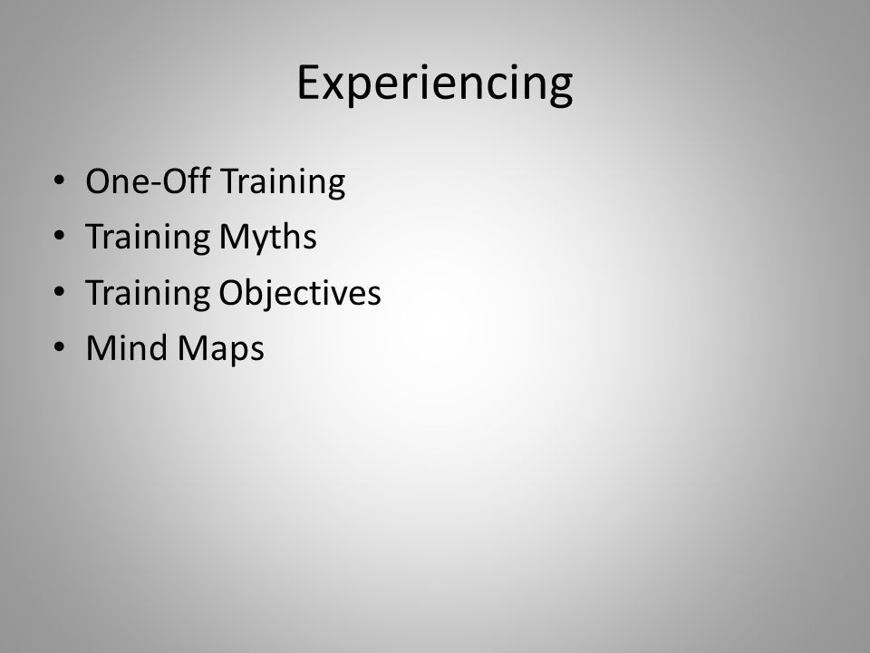 Experiencing One-Off Training Training Myths Training Objectives Mind Maps