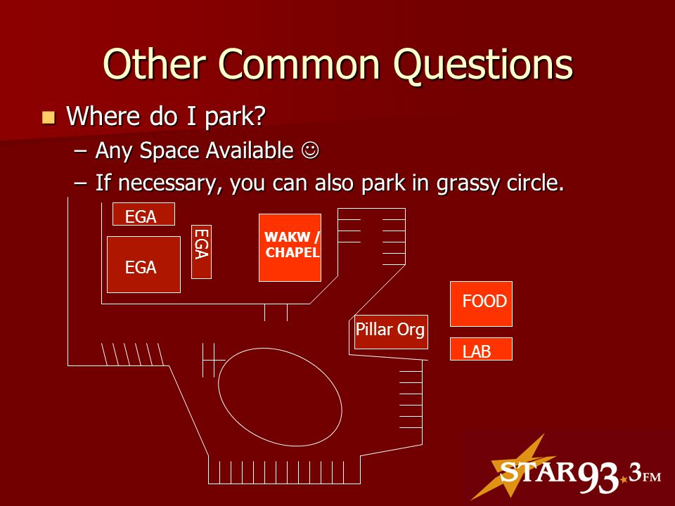 Other Common Questions Where do I park. Where do I park.