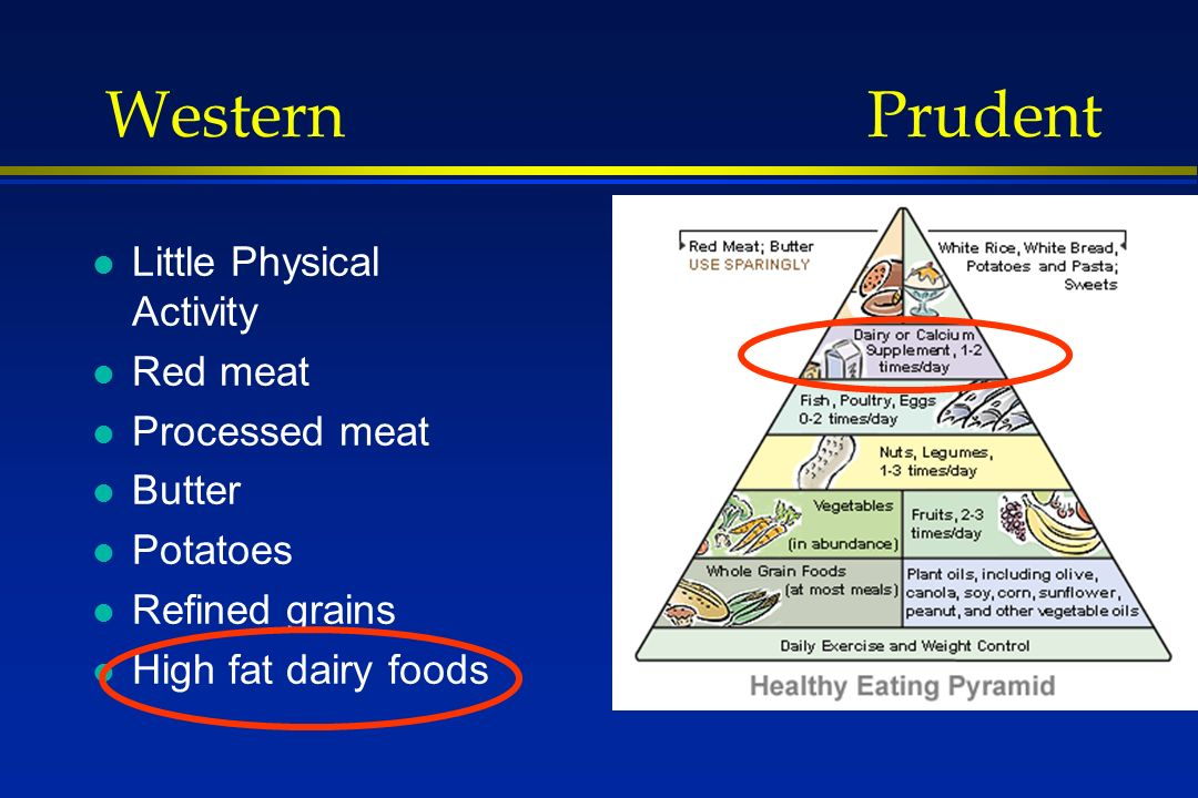Western Prudent l Little Physical Activity l Red meat l Processed meat l Butter l Potatoes l Refined grains l High fat dairy foods