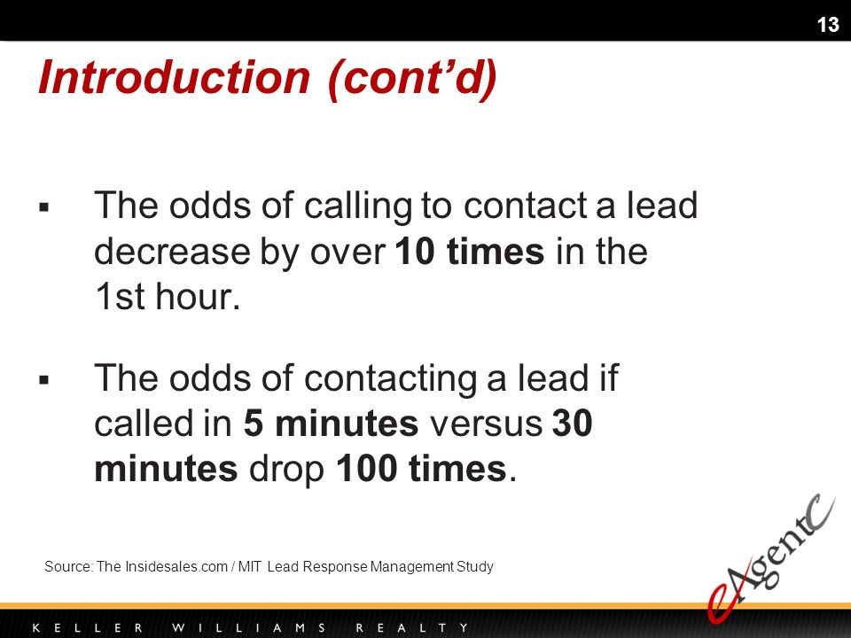 13 The odds of calling to contact a lead decrease by over 10 times in the 1st hour.