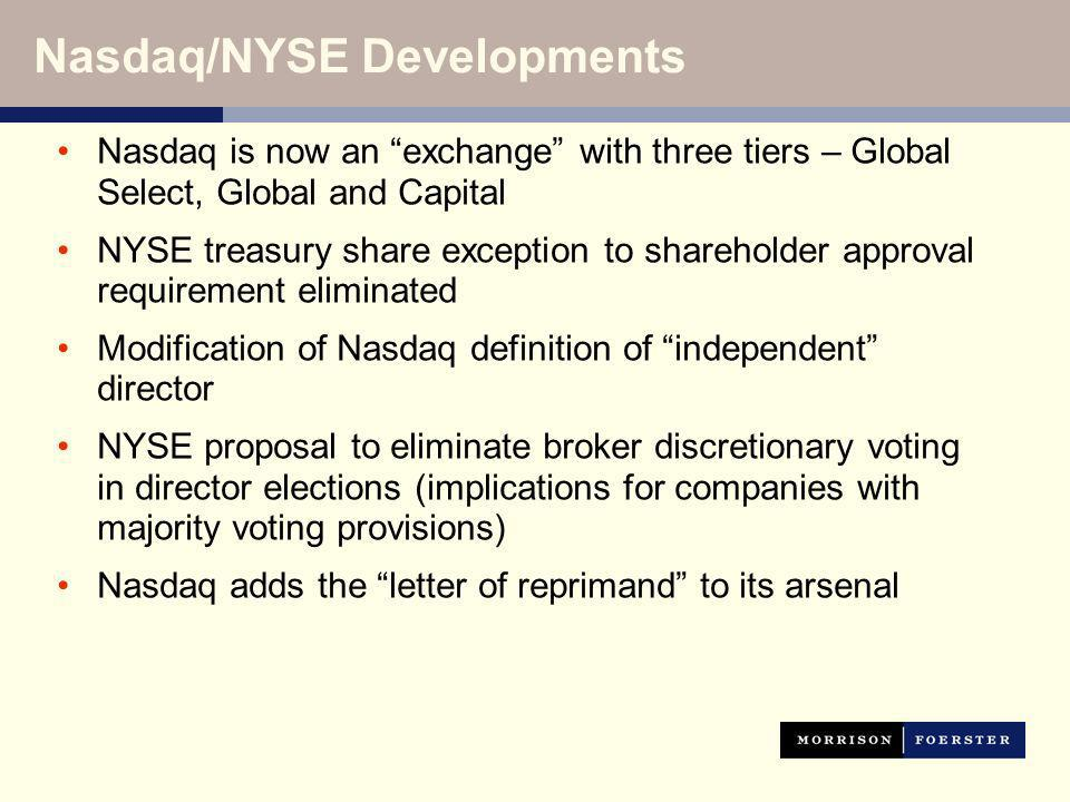 Nasdaq is now an exchange with three tiers – Global Select, Global and Capital NYSE treasury share exception to shareholder approval requirement eliminated Modification of Nasdaq definition of independent director NYSE proposal to eliminate broker discretionary voting in director elections (implications for companies with majority voting provisions) Nasdaq adds the letter of reprimand to its arsenal