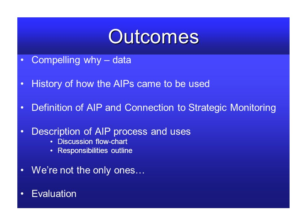 Outcomes Compelling why – data History of how the AIPs came to be used Definition of AIP and Connection to Strategic Monitoring Description of AIP process and uses Discussion flow-chart Responsibilities outline Were not the only ones… Evaluation