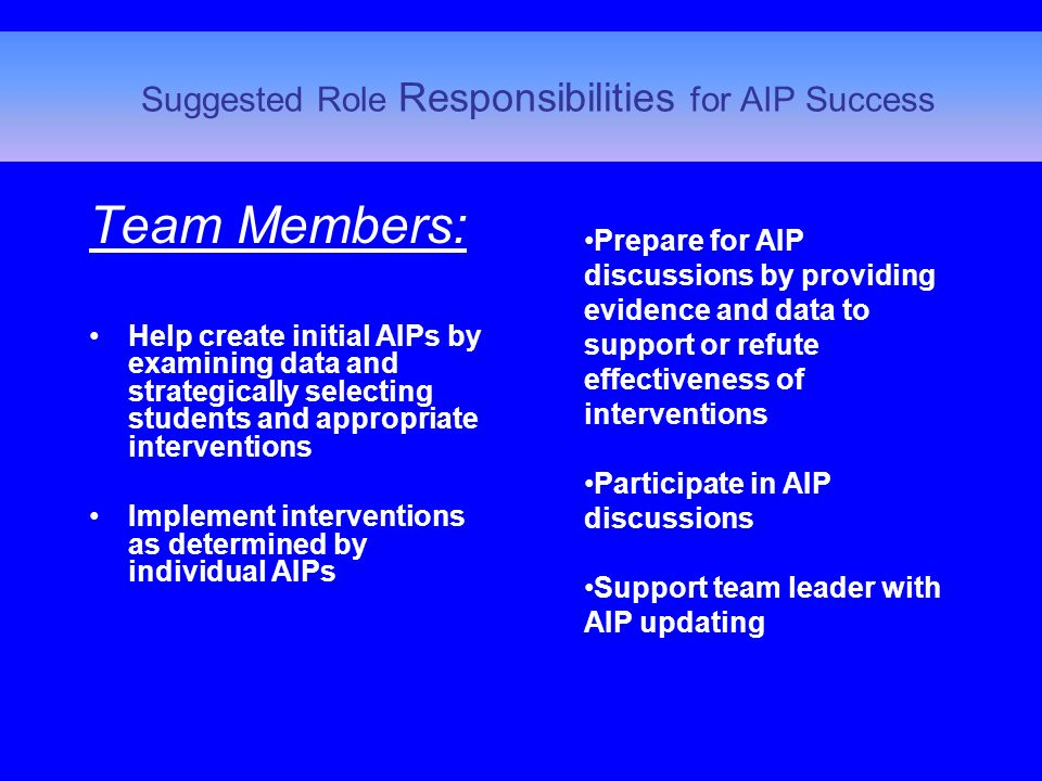 Team Members: Help create initial AIPs by examining data and strategically selecting students and appropriate interventions Implement interventions as determined by individual AIPs Suggested Role Responsibilities for AIP Success Prepare for AIP discussions by providing evidence and data to support or refute effectiveness of interventions Participate in AIP discussions Support team leader with AIP updating