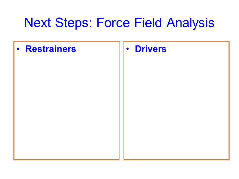 Next Steps: Force Field Analysis DriversRestrainers