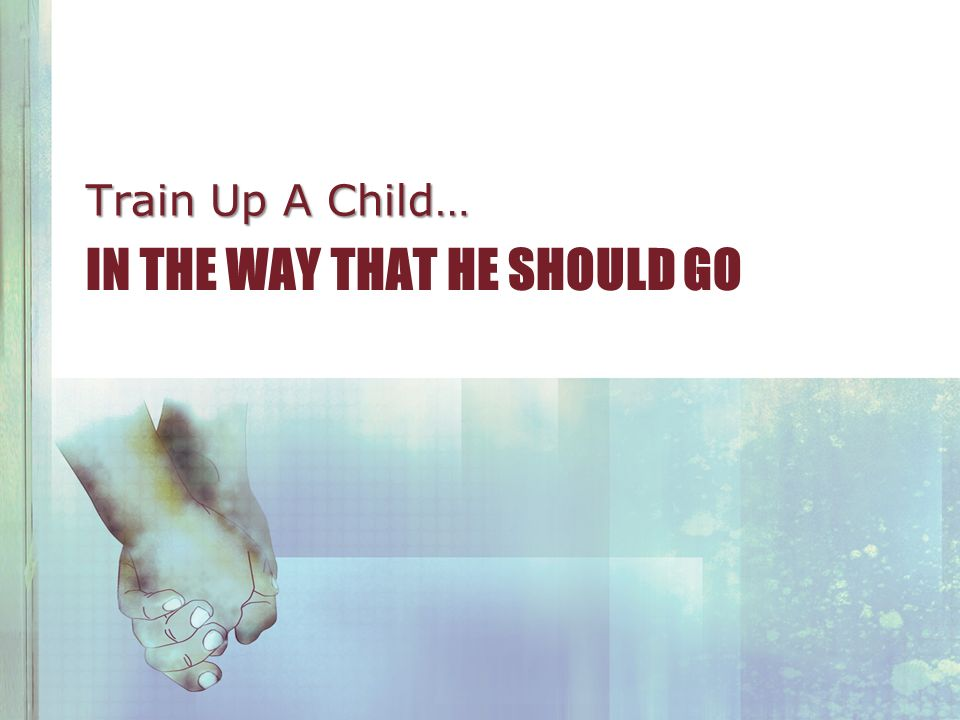 IN THE WAY THAT HE SHOULD GO Train Up A Child…