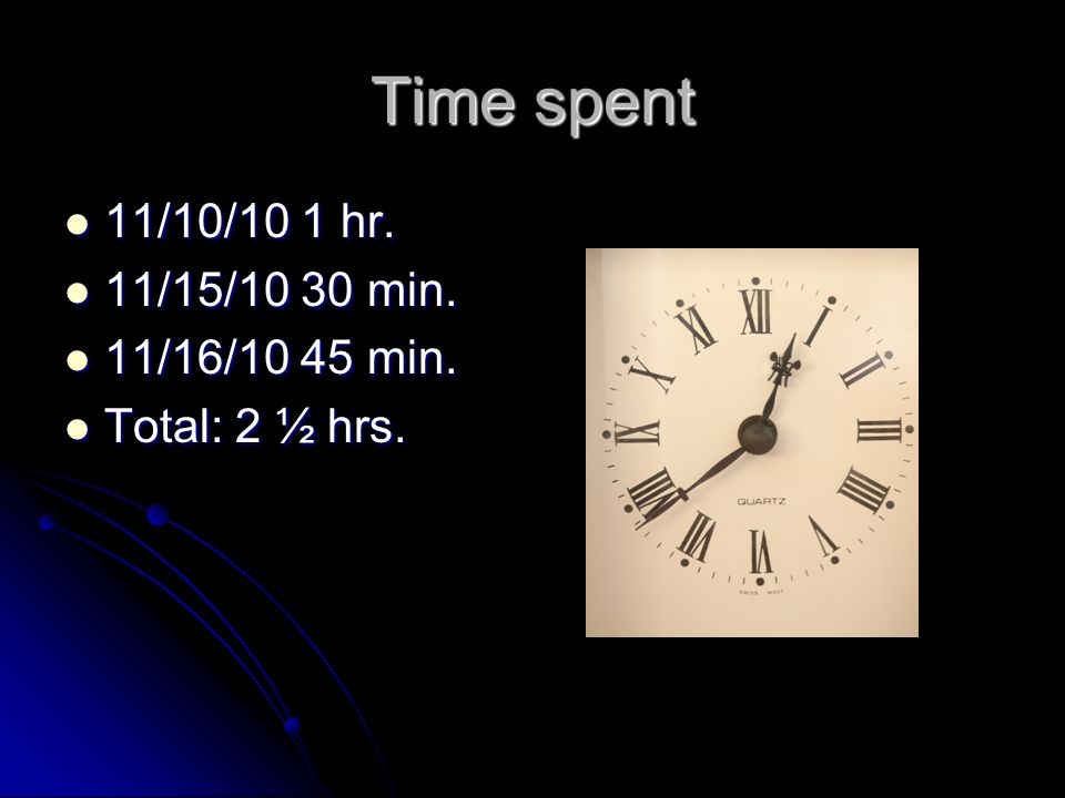 Time spent 11/10/10 1 hr. 11/10/10 1 hr. 11/15/10 30 min.