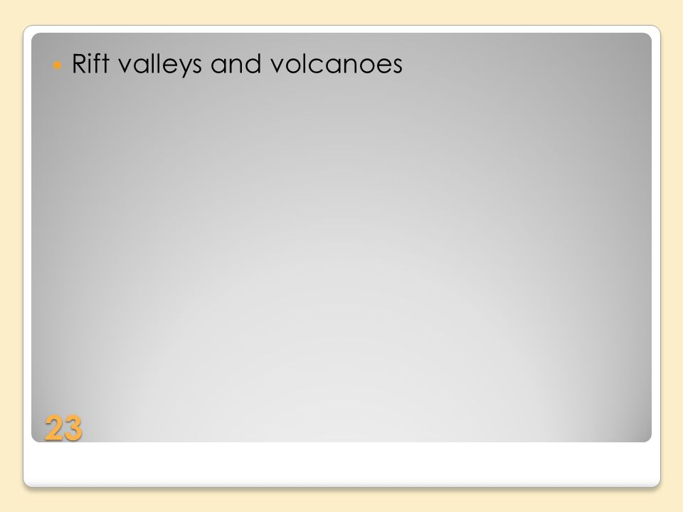 23 Rift valleys and volcanoes