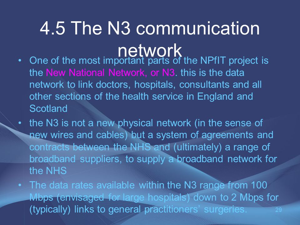 4.5 The N3 communication network One of the most important parts of the NPfIT project is the New National Network, or N3.