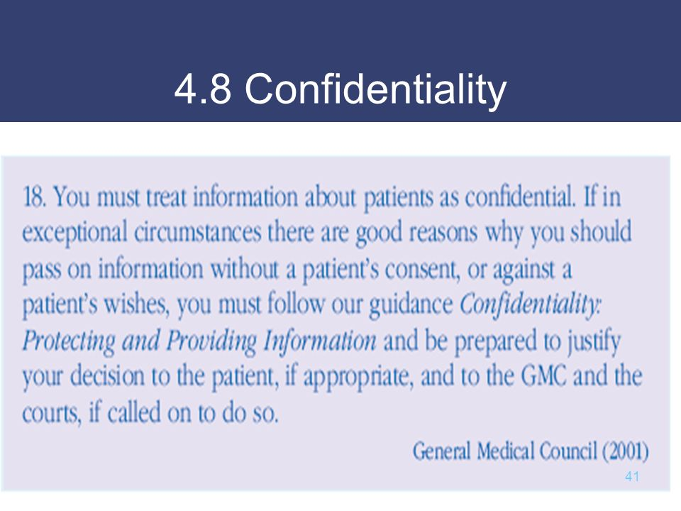 4.8 Confidentiality 41
