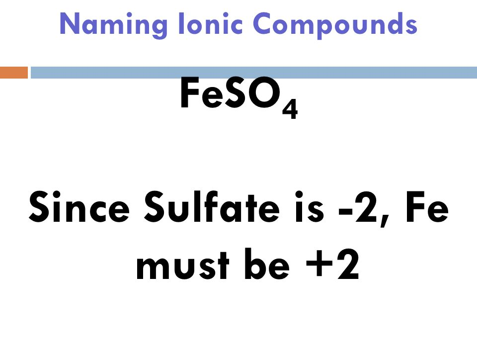 Naming Ionic Compounds FeSO 4 Sulfate