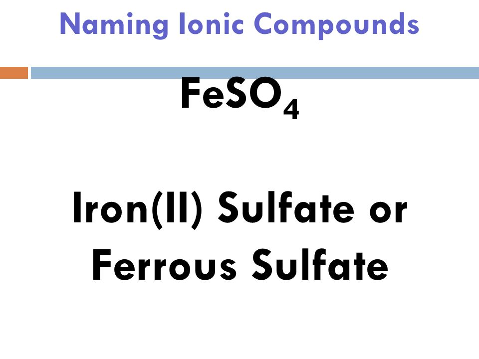 Naming Ionic Compounds FeSO 4 Iron(II) Sulfate