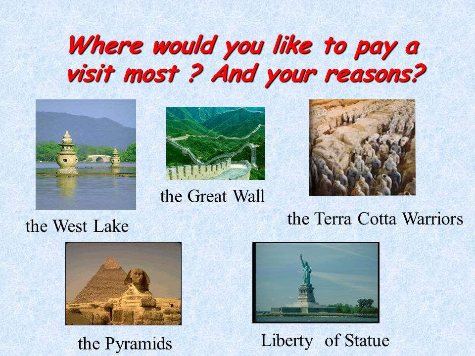 Where would you like to pay a visit most . And your reasons.