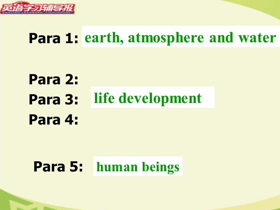 Para 1: earth, atmosphere and water Para 2: Para 3: Para 4: life development Para 5: human beings