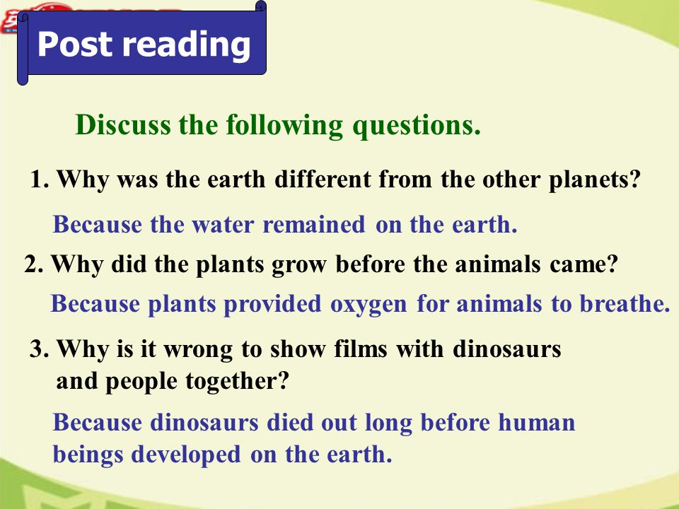 Post reading Discuss the following questions. 1.