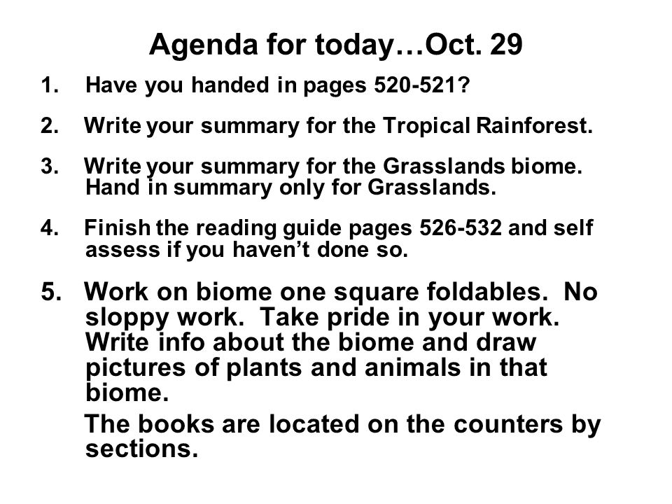 Agenda for today…Oct Have you handed in pages