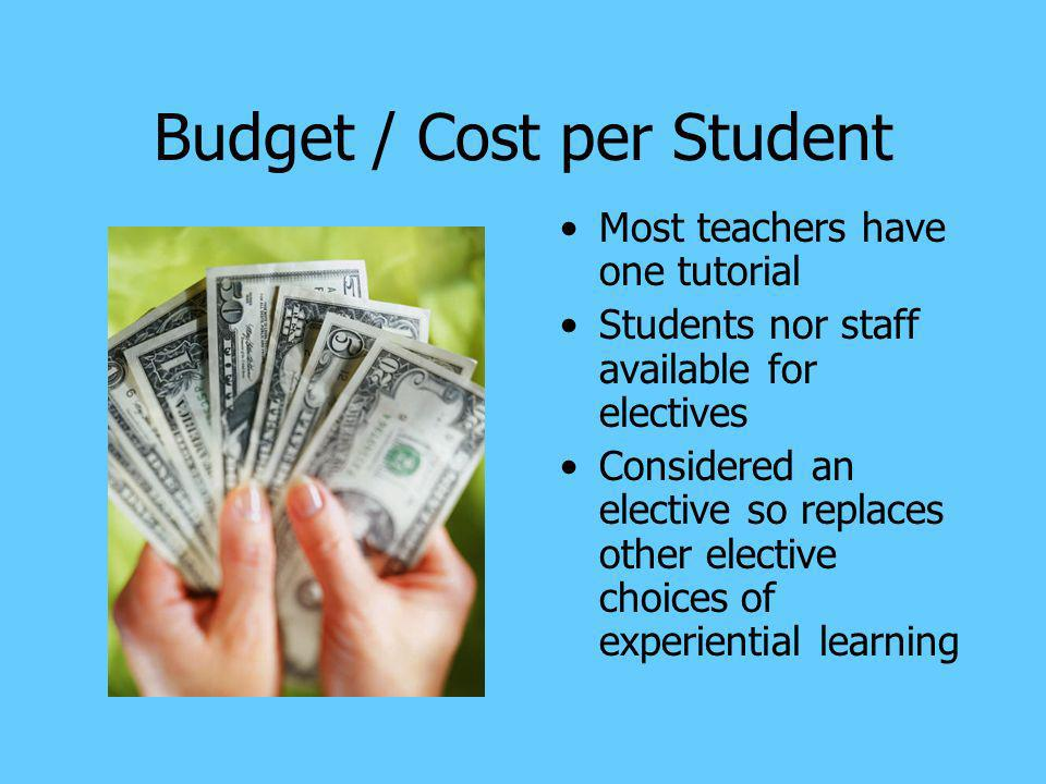Budget / Cost per Student Most teachers have one tutorial Students nor staff available for electives Considered an elective so replaces other elective choices of experiential learning