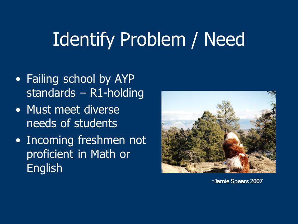 Identify Problem / Need Failing school by AYP standards – R1-holding Must meet diverse needs of students Incoming freshmen not proficient in Math or English - Jamie Spears 2007