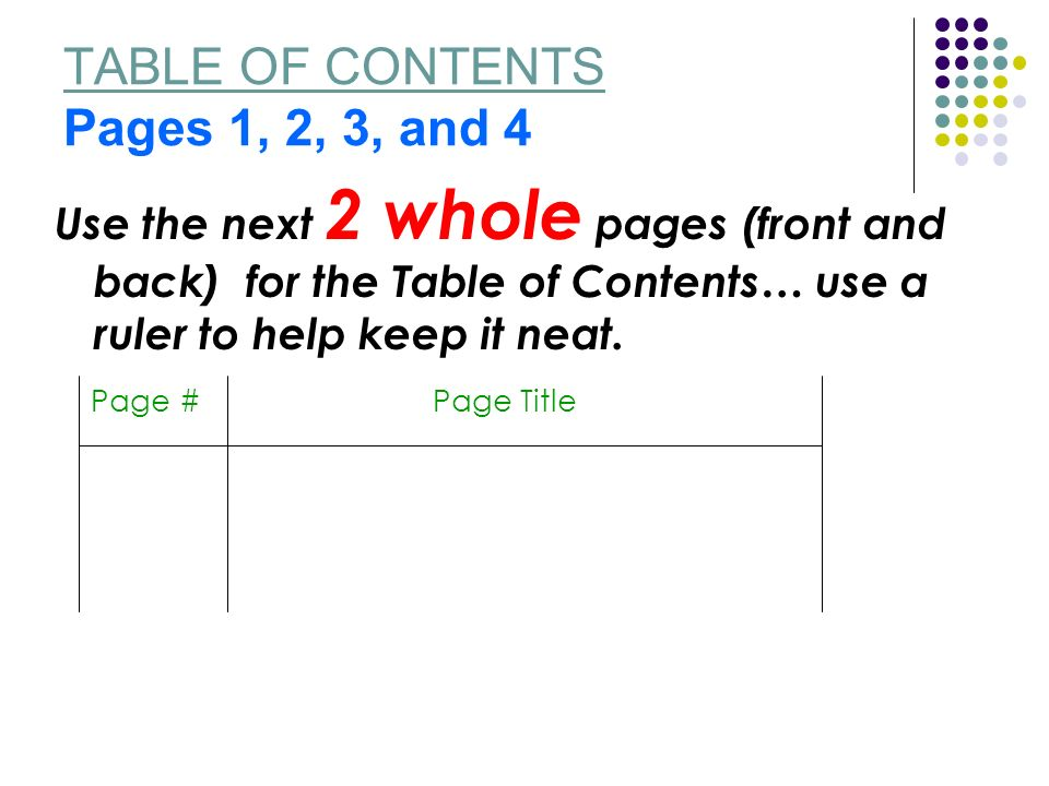 TABLE OF CONTENTS Pages 1, 2, 3, and 4 Use the next 2 whole pages (front and back) for the Table of Contents… use a ruler to help keep it neat.