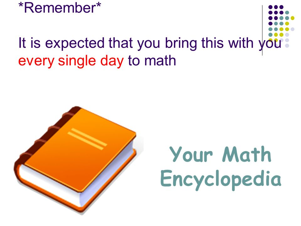 *Remember* It is expected that you bring this with you every single day to math Your Math Encyclopedia