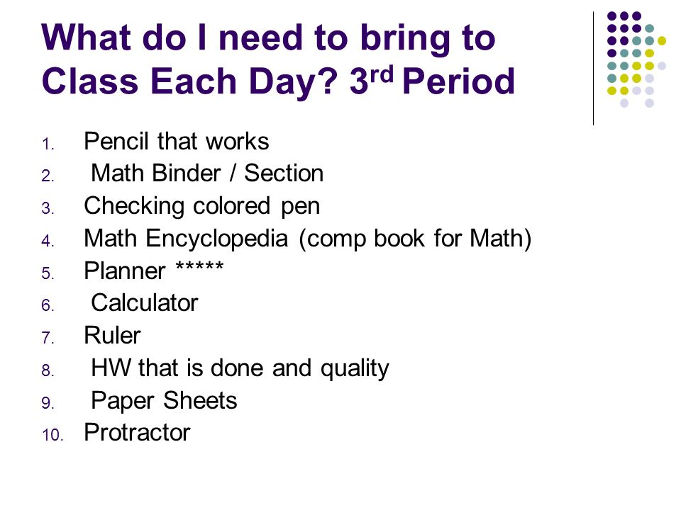 What do I need to bring to Class Each Day. 3 rd Period 1.