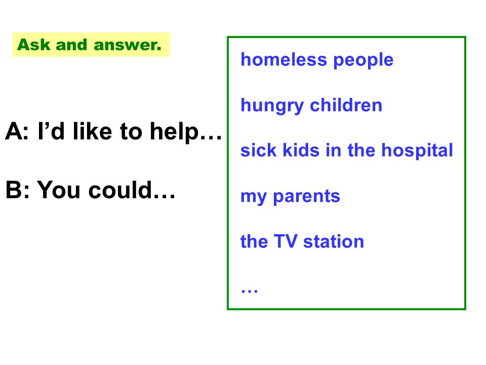A: Id like to help… B: You could… homeless people hungry children sick kids in the hospital my parents the TV station … Ask and answer.