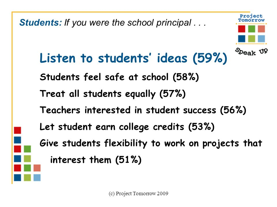 (c) Project Tomorrow 2009 Students: If you were the school principal...