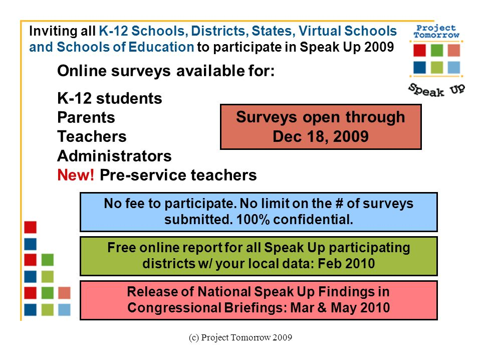 (c) Project Tomorrow 2009 Online surveys available for: K-12 students Parents Teachers Administrators New.