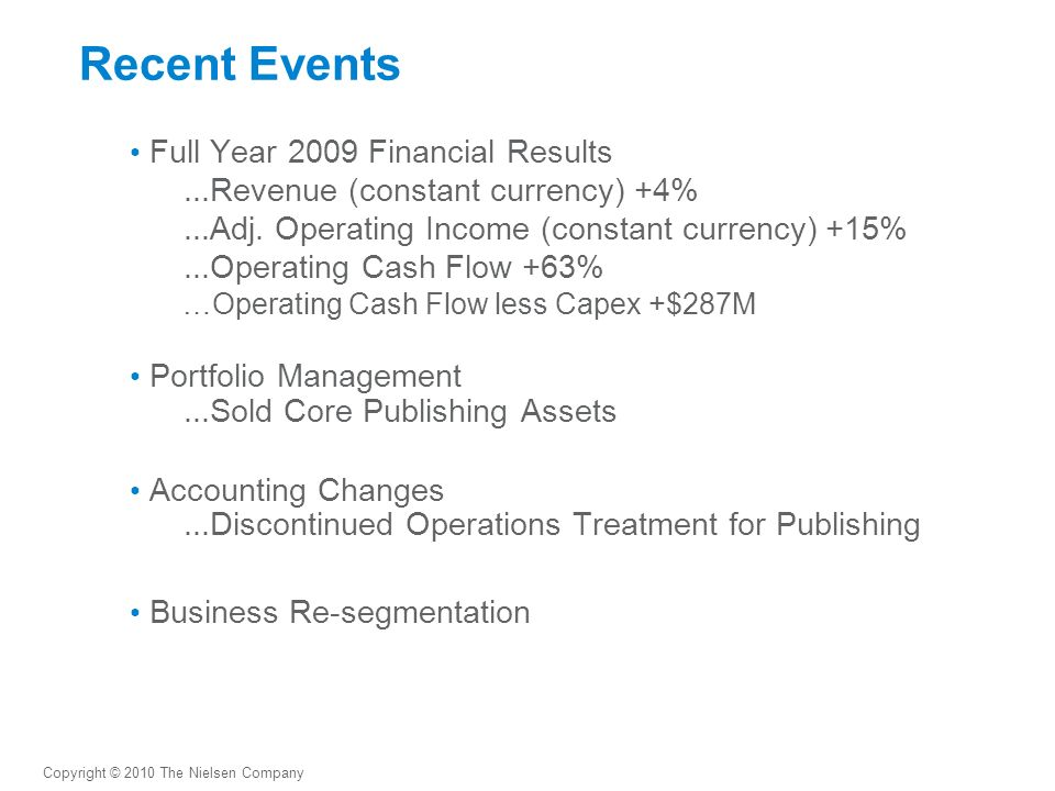 Recent Events Full Year 2009 Financial Results...Revenue (constant currency) +4%...Adj.