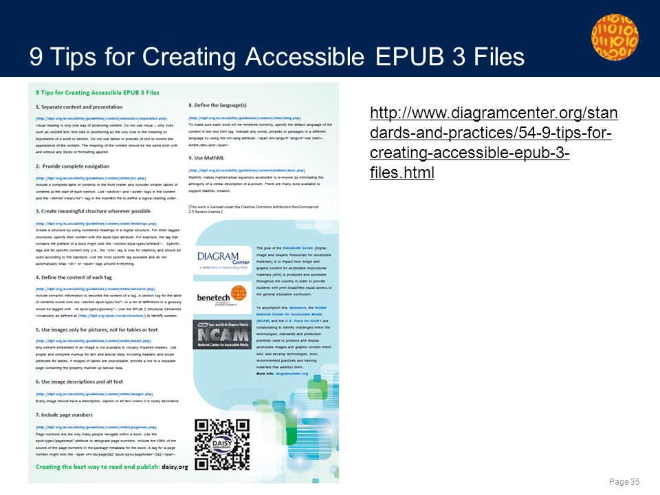 Page 35 9 Tips for Creating Accessible EPUB 3 Files   dards-and-practices/54-9-tips-for- creating-accessible-epub-3- files.html