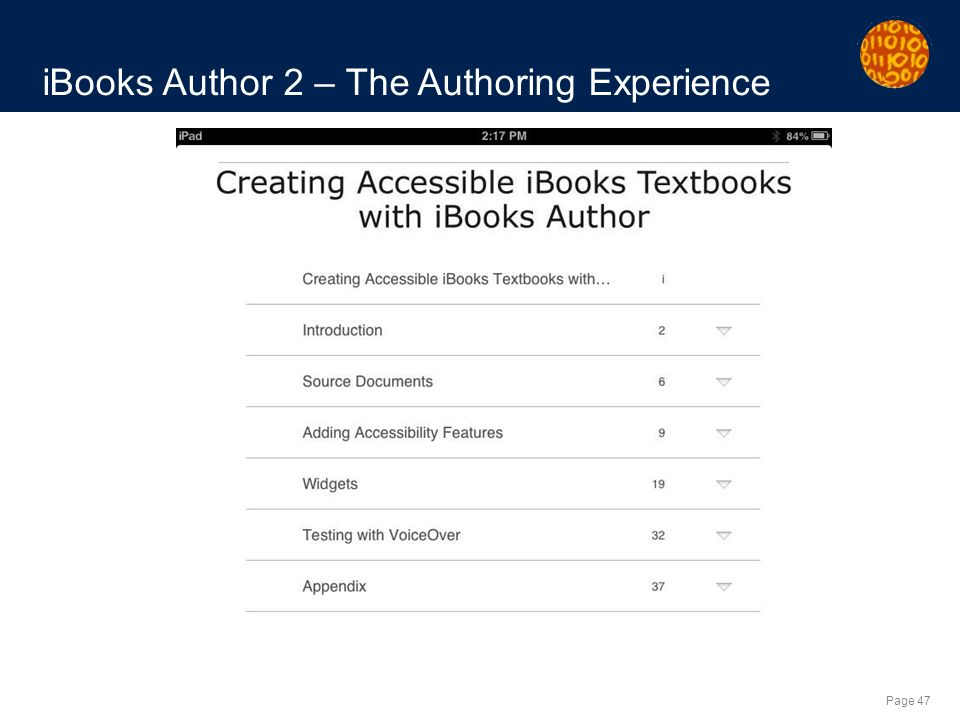 Page 47 iBooks Author 2 – The Authoring Experience