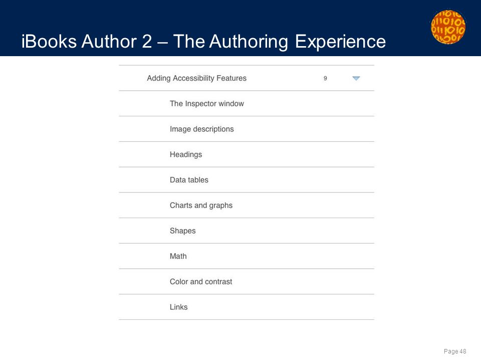 Page 48 iBooks Author 2 – The Authoring Experience
