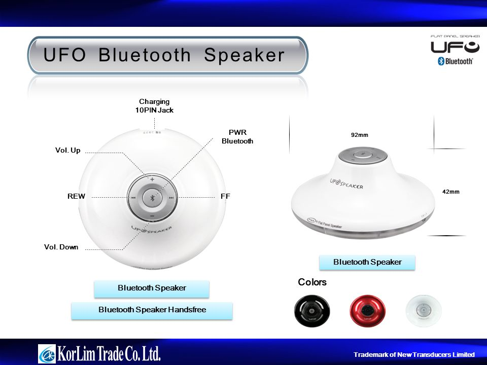 Trademark of New Transducers Limited UFO Bluetooth Speaker Colors FF Vol.