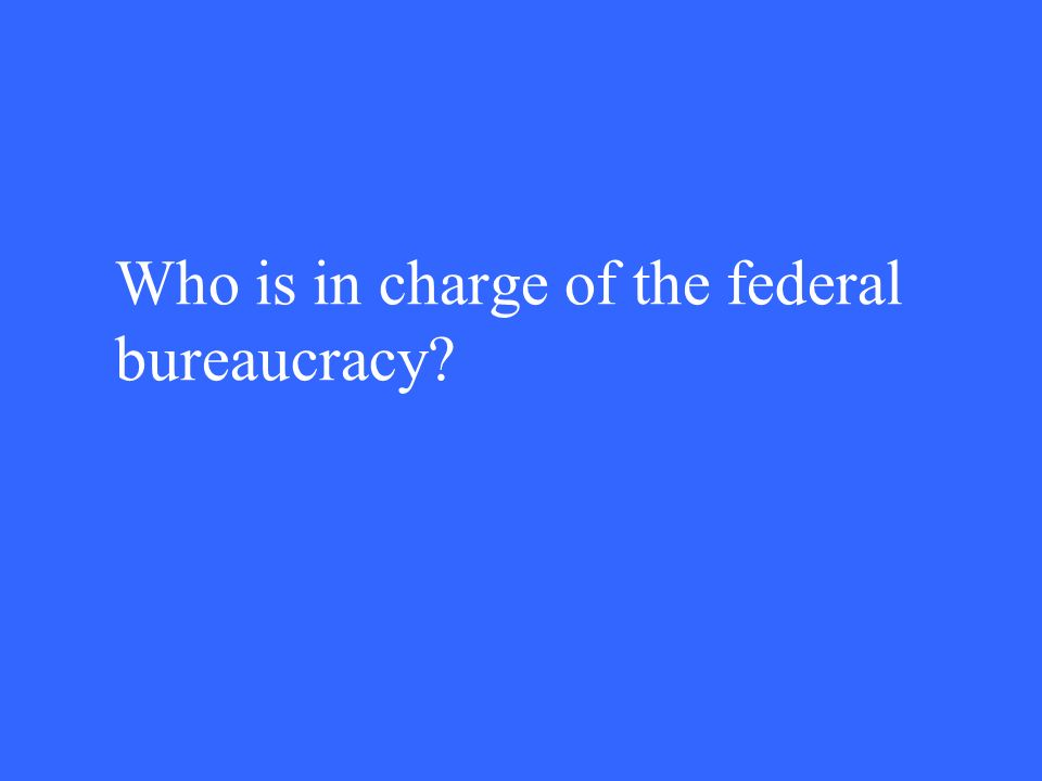 Who is in charge of the federal bureaucracy