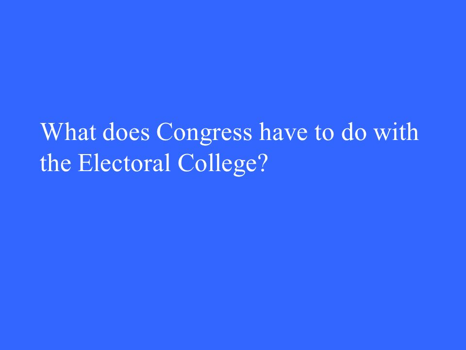 What does Congress have to do with the Electoral College