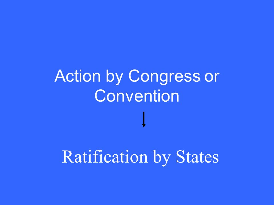 Action by Congress or Convention Ratification by States